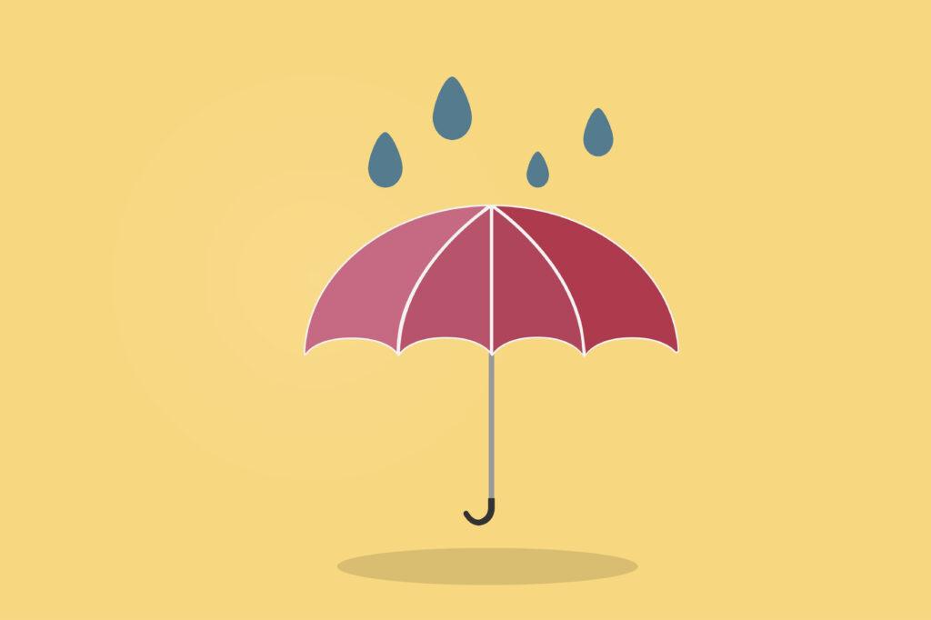 czerwona parasolka grafika